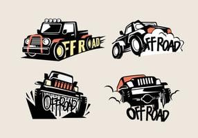 Set Off-Road Suv Logos em Fundo Branco vetor