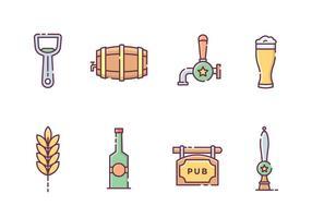 Ícones de bebida de cerveja vetor