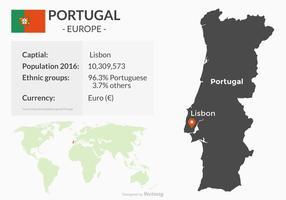 Mapa De Portugal Com Geografia vetor