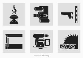 Black Construction Tools Ícones da silhueta do vetor