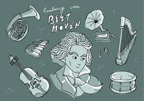 Ilustração do vetor do Doodle do instrumento da legenda Ludwig Van Beethoven do músico