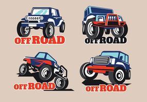 Set Off-Road Suv Car on Brown Background vetor