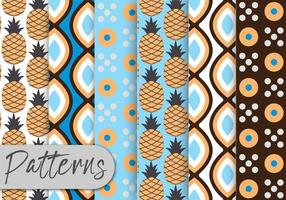 Conjunto de padrões de abacaxi vetor