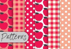 Conjunto de padrões de maçã vermelha vetor