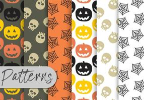 Conjunto de padrões de Halloween vetor
