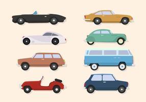 Vetores de carros clássicos planos