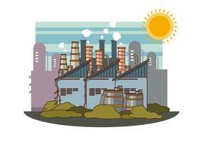 Fábrica industrial gratuita com ilustração da pilha de fumo vetor