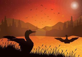 Vetor de pôr-do-sol loon sunset