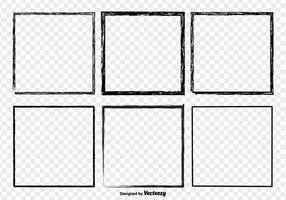 Conjunto de vetores de quadros de fronteira afligidos do grunge preto