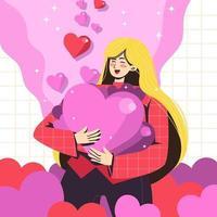 linda garota abraçando muitos corações vetor