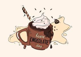 Café De Chocolate Bonito Com Creme De Vetor