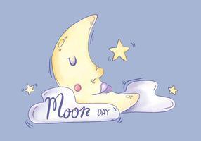 Caráter da lua da aguarela dormindo com nuvens e estrelas vetor