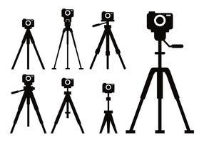 Conjunto de vetores de ícones de tripé de câmera