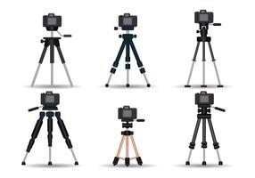 Conjunto de vetores realistas de tripé de câmera