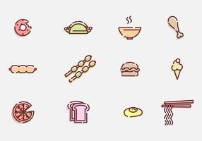 Ícones de vetor de alimentos e aperitivos