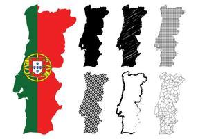 Conjunto de mapas de Portugal vetor
