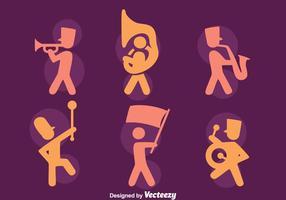 Vetores de ícones da banda de marcha da silhueta