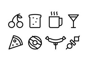 Pacote de ícones de alimentos e bebidas vetor