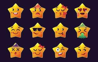 coleções de emoticons de estrelas vetor