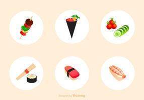 Ícones de ícones de aperitivos japoneses