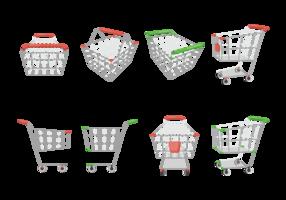 Vector de ícones de carrinho de supermercado