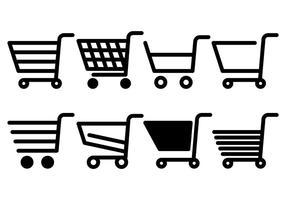 Ícones de vetor de carrinho de supermercado