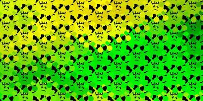 padrão verde escuro e amarelo com elementos de coronavírus.