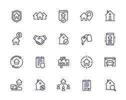 ícones de linha imobiliária, inquilinos, casas para alugar