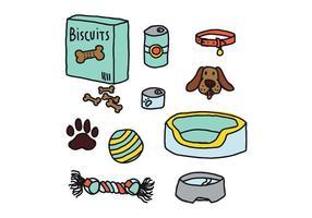 Doodles coloridos dos elementos do cão vetor