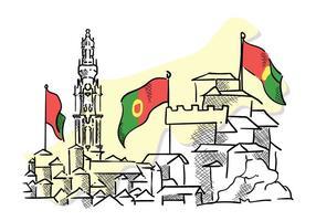 Vetores destacados do mapa de viagens de Portugal