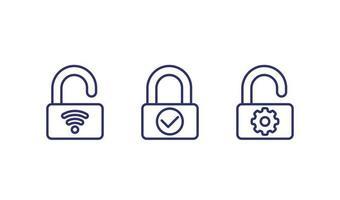 ícones de linha de fechadura inteligente