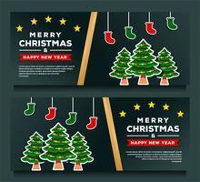 modelo de banner de feliz natal e feliz ano novo vetor