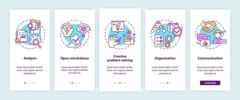 tipos de pensamento criativo na tela da página do aplicativo móvel vetor