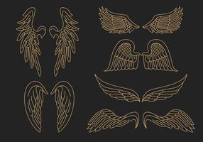 Vetor do esboço de asas de anjo dourado