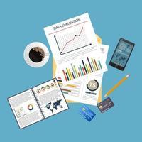 fundo de conceito de auditoria com objetos de escritório vetor