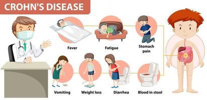 infográfico médico da doença de crohn vetor