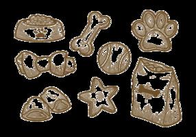 Vetor de ícones de biscoito de cachorro