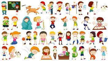conjunto de personagens de desenhos animados de crianças fofas vetor