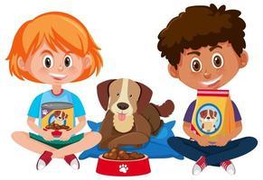 menino e menina segurando comida de cachorro com um cachorro fofo no fundo branco vetor
