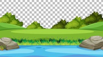cena de parque natural em branco com paisagem de rio em fundo transparente vetor