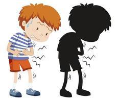 menino com dor de estômago em cores e silhueta vetor
