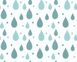 padrão sem emenda com gotas de chuva e desenhos de linha