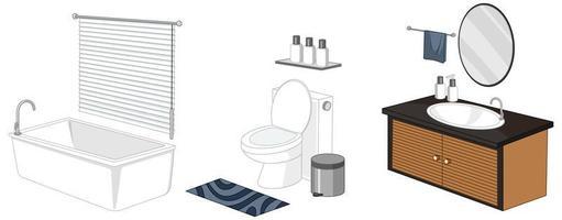 móveis de banheiro isolados no fundo branco vetor