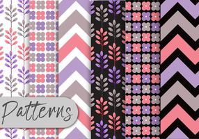 Conjunto de padrões roxos macios vetor