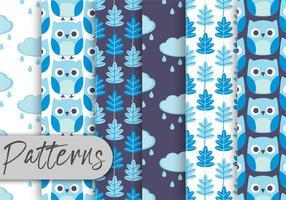 Conjunto de padrões da coruja azul vetor