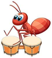formiga músico tocando tambor vetor