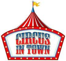 design de fonte para a palavra circo na cidade com tenda de circo vetor