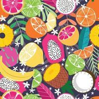 padrão sem emenda de frutas, coleção de frutas tropicais exóticas