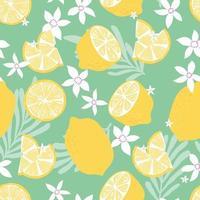 padrão sem emenda de frutas, limões com folhas tropicais