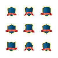 coleção de etiquetas de fita vermelha com escudo dourado azul